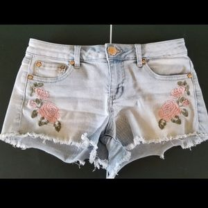 Embroidered Pink Flower Shorts